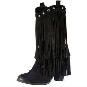 Naughty Monkey Black Suede Stud Fringe Boots 8.5